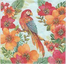 2 Serviettes en papier Perroquet Ara Oiseau Paper Napkins Tropical Parrot