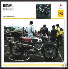 1962 Honda 125cc Twin CS 92 (124cc) Japan Bike Motorcycle Photo Spec Info Card