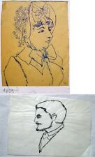 Erhard Klepper 1906-1980 Berlin /2 Zeichnungen / Damenmode 1881 & Herrenportrait