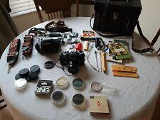 MINOLTA XE-7 SLR 35MM FILM CAMERA BAG LENS FILTERS STRAPS CASE LOT VINTAGE