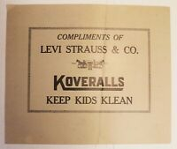 Rare 1910 LEVI'S ADVERTISING Levi Strauss KIDS KOVERALLS SIGN Civil War graphics