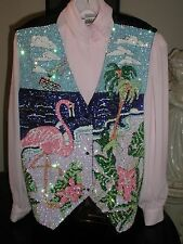 SEQUIN FLAMINGO VEST CRUISE WEAR GLITTERING FLAMINGOS GREAT CHRISTMAS GIFT  XL