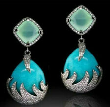 Fashion Women Turquoise Cubic White Gold Filled Crystal Dangle Drop Earrings