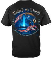 United We Stand American USA Flag Eagle T-Shirt 100% Cotton Black