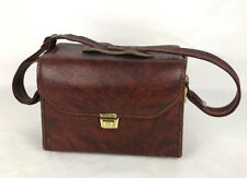 Vintage Minolta Leather Camera Carrier Hard Case Light Brown 10.5 x7.5 x 5""