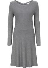 Strick Kleid in Ripp Gr M L XL 2XL Pullover für Damen Grau oder Blau 068 neu