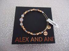 Alex and Ani ROSE QUARTZ Russian Gold Beaded Bangle New W /Tag Card & Box