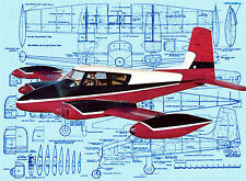 Build a 1:12 Scale Control Line model airplane Cessna 310 full Size Printed plan