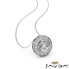 Halo Micro Pave Necklace Round Shape Natural Diamond Milgrain Pendant 0.41ctw