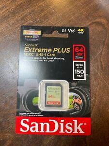 SanDisk EXTREME PLUS 64GB SDXC UHS-1 Card NEW!!!!