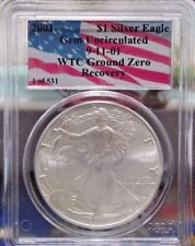 2001 1 of 531 911 AMERICAN SILVER EAGLE WTC GROUND ZERO RECOVERY * PCGS GEM *