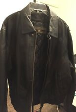 Members Only Men's Detachable Liner Genuine Leather Jacket Size Large Black