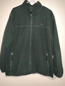 LL Bean Mens XL TAll Green Full Zip Polartec Fleece Jacket Weight Warm, GUC