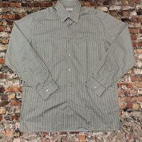 Ermenegildo Zegna Men's XL Khaki Striped Button Front Long Sleeve Shirt #14C8
