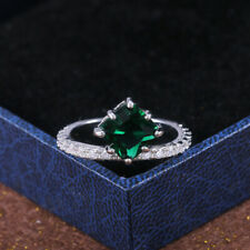 Elegant Emerald Rings Jewelry 925 Silver Engagement Ring For Women Size 9