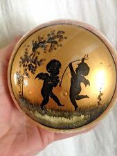 VICTORIAN CUPID ANGEL JEWELRY BOX GOLD HAND PAINTED EGLOMISÉ MOUTH BLOWN GLASS