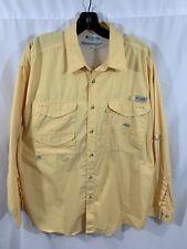 Columbia Pfg Men's Yellow Long Sleeve Shirt Vented Hiking Fishing Size Large