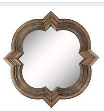 "NEW Large 18"" Natural Wood Mirror  Quatrefoil Wall Mirror On Sale"