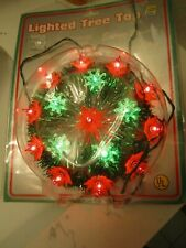 """Vintage Osco New 8"""" Lighted Christmas Tree Topper Green White Red Works Tested"""