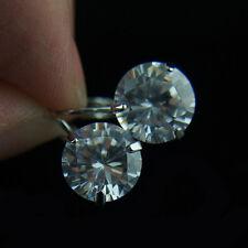 18k white Gold GF Diamond simulant drop dangle earrings