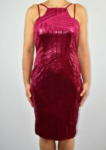 Quiz Raspberry Pink Sequins Pencil Dress Spring Prom Holiday Party Size 14 AZ