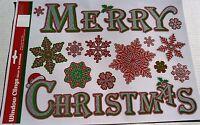 CHRISTMAS Window Clings MERRY CHRISTMAS w/ GLITTER