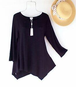 New~$58~Cupio~Solid Black Tunic Blouse Shirt Boho Top~Size Medium M