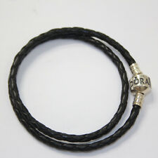 Authentic PANDORA 925 Silver Black Double Leather Bracelet Small 590705cbk