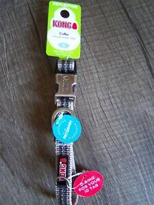 "NEW!! KONG Collar REFLECTIVE Stitching SMALL GREY  10""-14"" NWT"