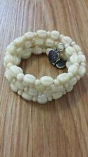 Womens ivory cream heart chunky bracelet costume jewellery