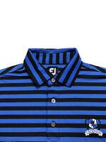 FJ FootJoy Golf Men's Shirt Blue Black Striped LEGENDS Embroidered Size Large