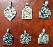 Set of six Vintage tribal silver Lord Hanuman pendants made of  coin silver
