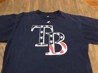 Tampa Bay Rays MLB Baseball Majestic USA Flag Patriotic Logo XL Navy T Shirt