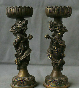 """9.2"""" China Fengshui Collect Bronze Copper Dragon Statue Candlestick Limp Pair"""