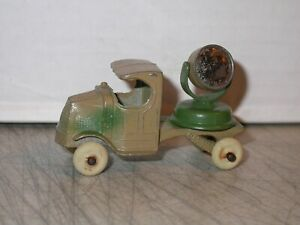 Vintage TootsieToy  Cast Metal Antique Mack Search Light Truck White Wheels Army
