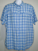 Columbia Pearl Snap Plaid Shirt Mens Short Sleeve Size 2XL Blue Button Front