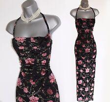Karen Millen Black & Velvet Flowers Fabric Cowl Neck Cocktail Maxi Dress UK10 38
