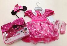 NWT Disney Store Pink Minnie Mouse 4 4T Costume Headband Shoes & Accessory Set
