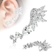 Ear Cartilage Cuff Skyfall Clear CZ Left Ear Lobe Rhodium Plated Earring 20G