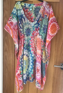Beach Kaftan Cover Up Sheer Long Size 14 Loose Light Sparkly Floral