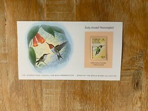 TURKS & CAICOS ISLANDS 1973 CARD MNH WORLD BIRDS RUBY-THROATED HUMMINGBIRD