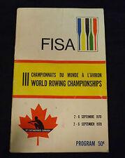 1970 World Rowing Championships Program. FISA - Royal Canadian Henley 47 Yr. Old