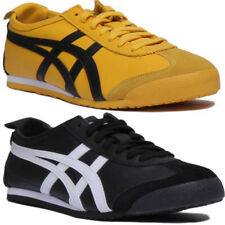 Onitsuka Tiger Mexico 66 Unisex Leather Trainer In Black Yellow Size UK 3 - 12