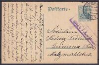 DR 5 Pf. Germania Ganzsache Zensur Straßburg - Grimma 1914, GA Deutsches Reich