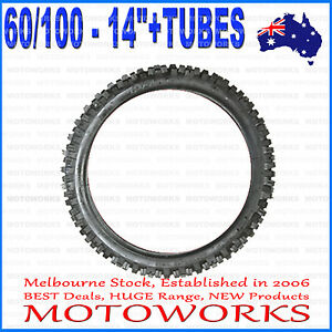 """2.75 - 14 60/100 - 14"""" Inch Front Knobby Tyre Tire +Tube PIT PRO Trail Dirt Bike"""
