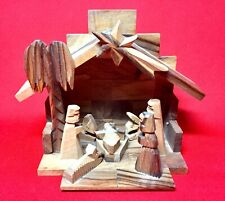 Nativity Scene Olive Wood Made In Bethlehem West Bank Holiday Statue Display