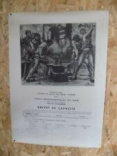 """Gravure """" le fer """" Pierre Paulus sur brevet de capacité en 1949"""