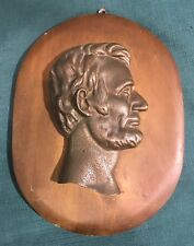 Bronze or Brass Abraham Lincoln Profile Sculpture on Wood Plaque