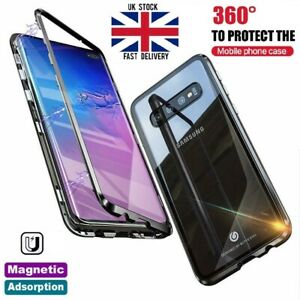 Magnetic Adsorption Metal Case Tempered Glass Cover For Samsung S10 5G S10+ S10E