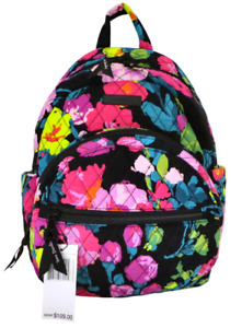 New NWT Vera Bradley Hilo Meadow Black & Pink Floral Essential Compact Backpack